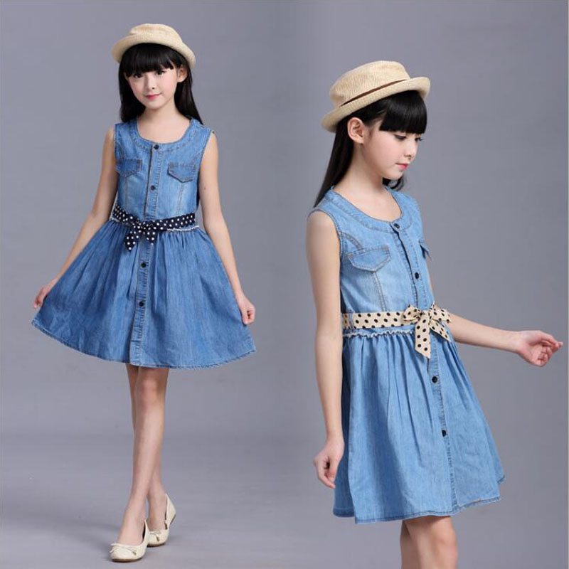 Big girls summer dress 6 7 8 10 12 14 15 years children's clothing for teenage dress Kids cotton cowdoy casual sleeveless dress hayden girls boho ethnic dress designs teenage girls national embroidered dresses flare sleeve loose fit dress for 7 to 14 years