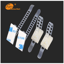 10pcs/lot CL-3 Adjustable Cable clamps wire cable Tie Mounts Environmental protection Screw holes Adhesive Beamline Ties Mounts