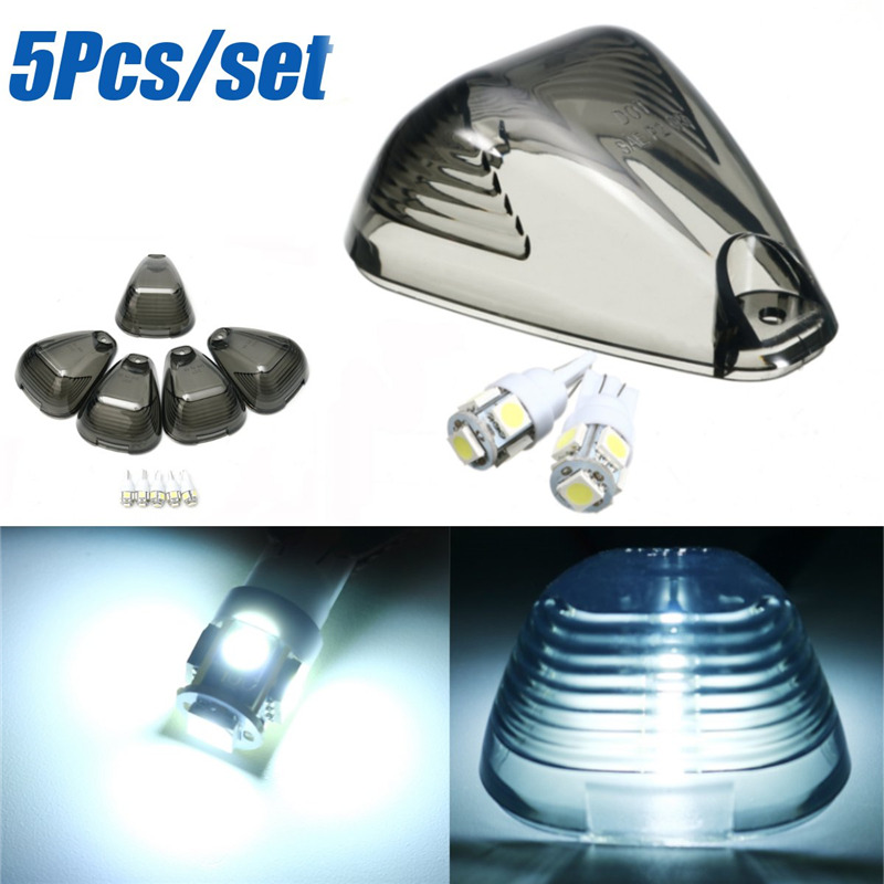 5Pcs White T10 5730 5SMD LED Bulbs with Smoke Roof Running Light Cab Marker Cover For Ford/E-150/F-250 1999-2016