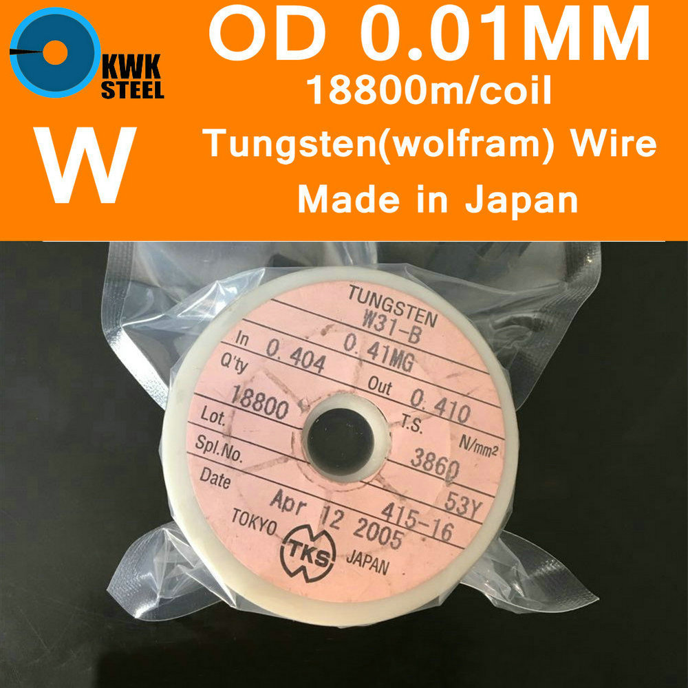 Tungsten Wire Diameter 0.01mm Length 18800m Per Coil 99.99% Pure Tungsten Wolfram Line Metal W Experiment Research Made In Japan