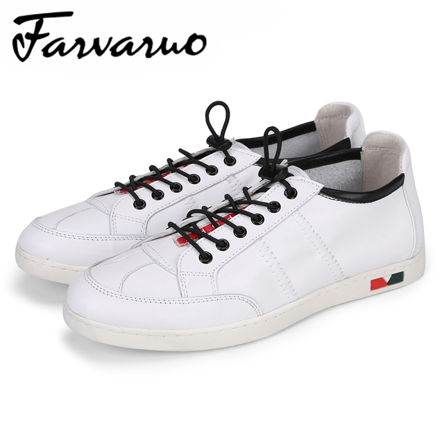 Farvarwo Hot Selling Fashion Casual White Shoes For Men Genuine Leather Comfortable Breathable Summer Flats Sneakers Mens Shoes