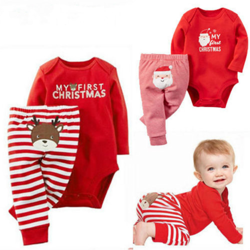 Лидер продаж Рождество для новорожденных для мальчиков и девочек с надписью Рождественский комбинезон в полоску длинные брюки одежда комп...