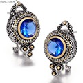 2017 Winter New vintage Classic Jewelry Round Shape Blue  Quartz stone 925 Sterling Silver Earrings E0416