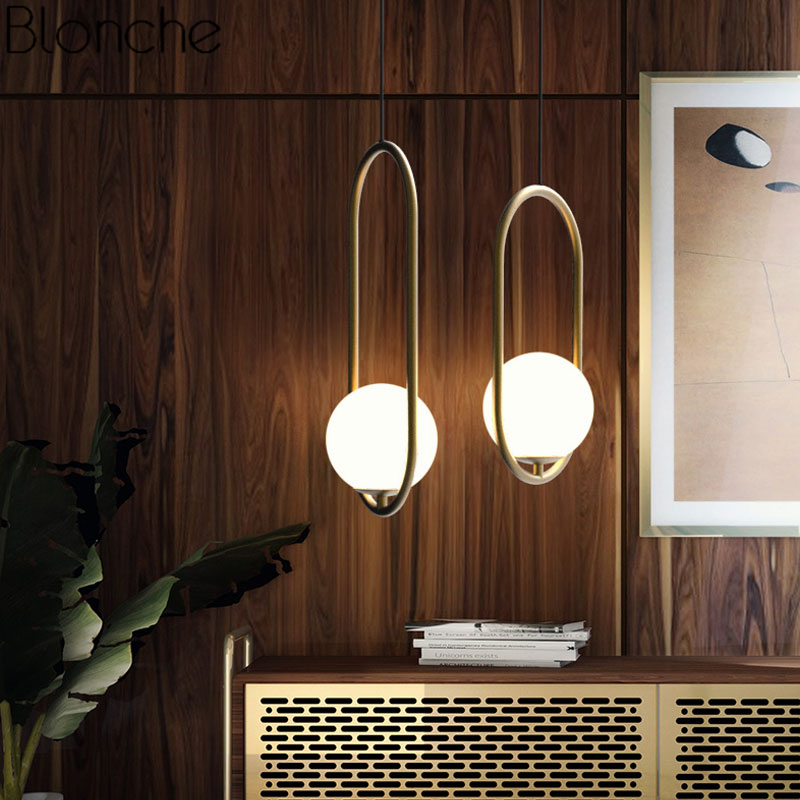 Nordic Glass Ball Pendant Lights Vintage Hoop Modern Led Hanging Lamp For Living Room Home Loft Industrial Decor Luminaire E27