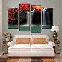 4 Pçs/set Cachoeira Paisagem Com Árvores Vermelhas Pintura de Impressão na Lona Abstrata Moderna Cenário Natural do Retrato Da Parede Decoração Da Sua Casa