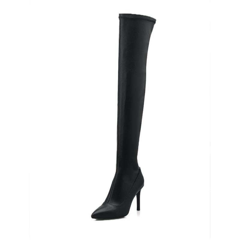 ФОТО over knee boots Pointed Toe Thin high heel Side zipper Head layer cowhide winter fashion sexy warm long boot size 33-43 T2356