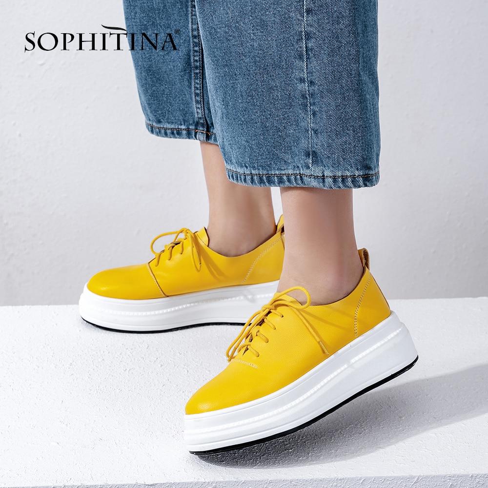 SOPHITINA รอบ Toe คุณภาพสูงของแท้หนัง Casual รองเท้าผู้หญิงหนาน่ารักแพลตฟอร์ม Heel Lace   up รองเท้า PO67-ใน รองเท้าส้นเตี้ยสตรี จาก รองเท้า บน AliExpress - 11.11_สิบเอ็ด สิบเอ็ดวันคนโสด 1