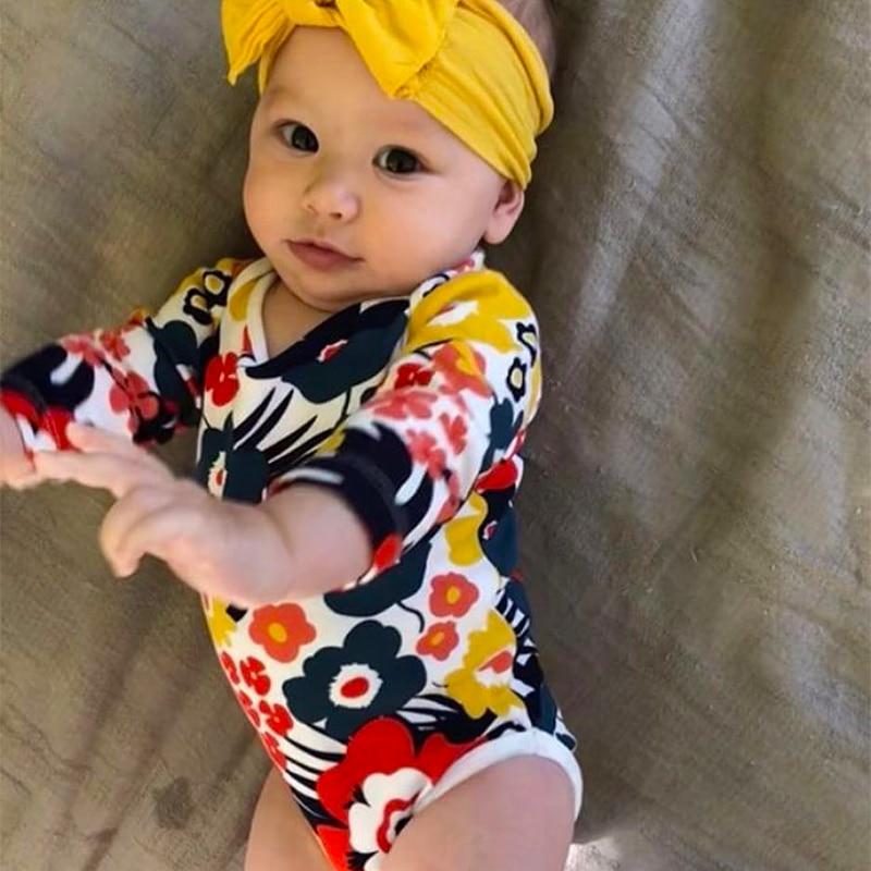 TinyPeople New 2019 Flower Print baby Bodysuit Summer Baby Boys Jumpsuit Girls Clothing Vestidos Cotton infant dress modis