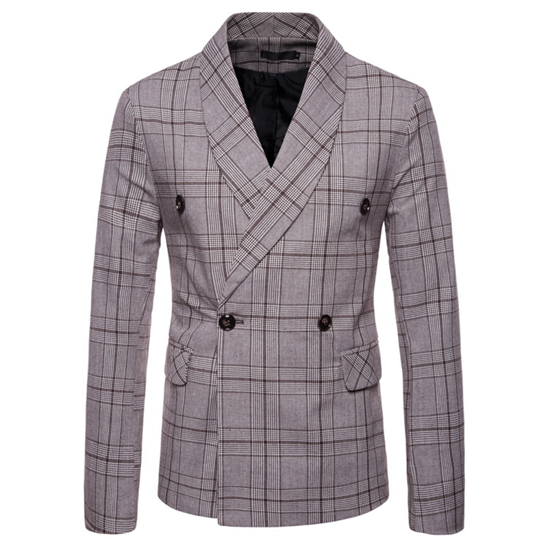 Mens Suits Blazer Jacket Men's New Arrival Spring Autumn 2020 Plaid Double-breasted Suit Mens Suits Jacket