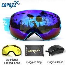 COPOZZ лыжные очки с чехол и желтые линзы UV400 Анти-туман сферические лыжные очки катание на лыжах мужские и женские зимние очки+ крышка объектива+ набор в коробке
