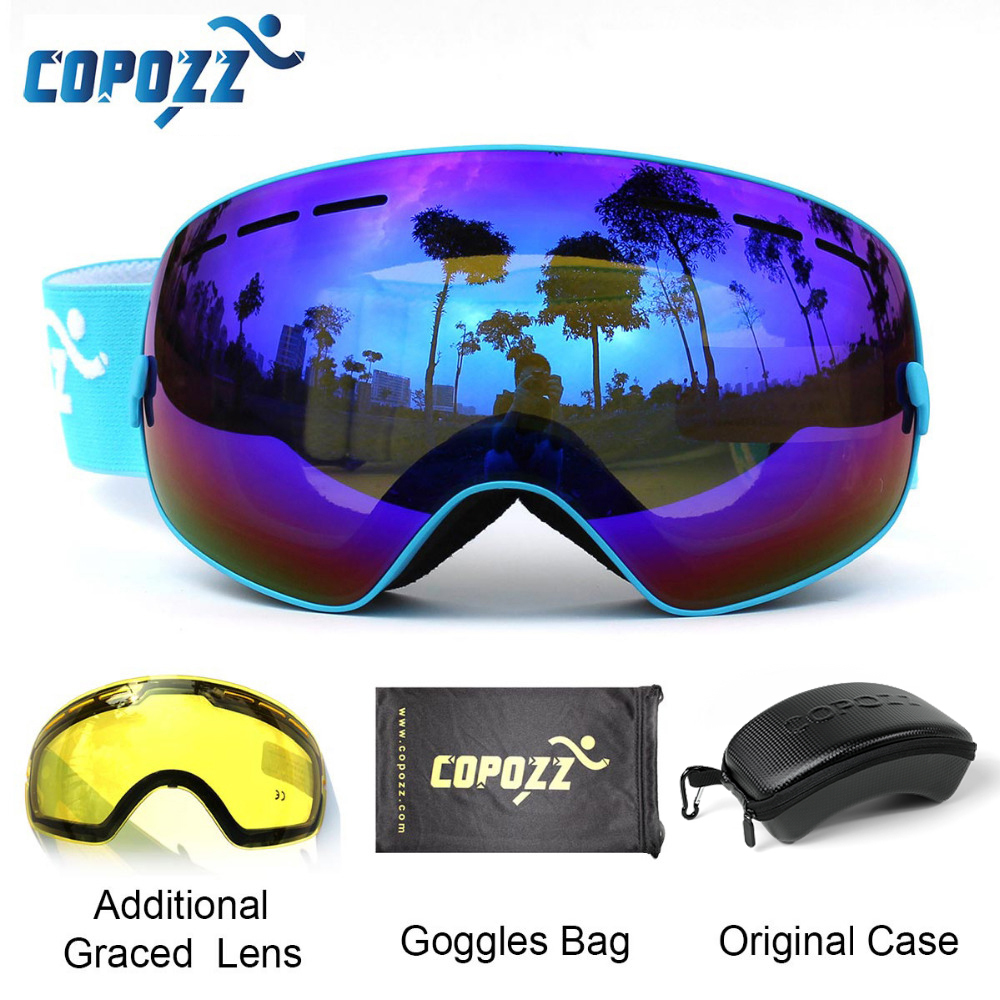 COPOZZ Ski Goggles With Case & Yellow Lens UV400 Anti-fog Spherical Ski Glasses Skiing Men Women Snow Goggles + Lens + Box Set
