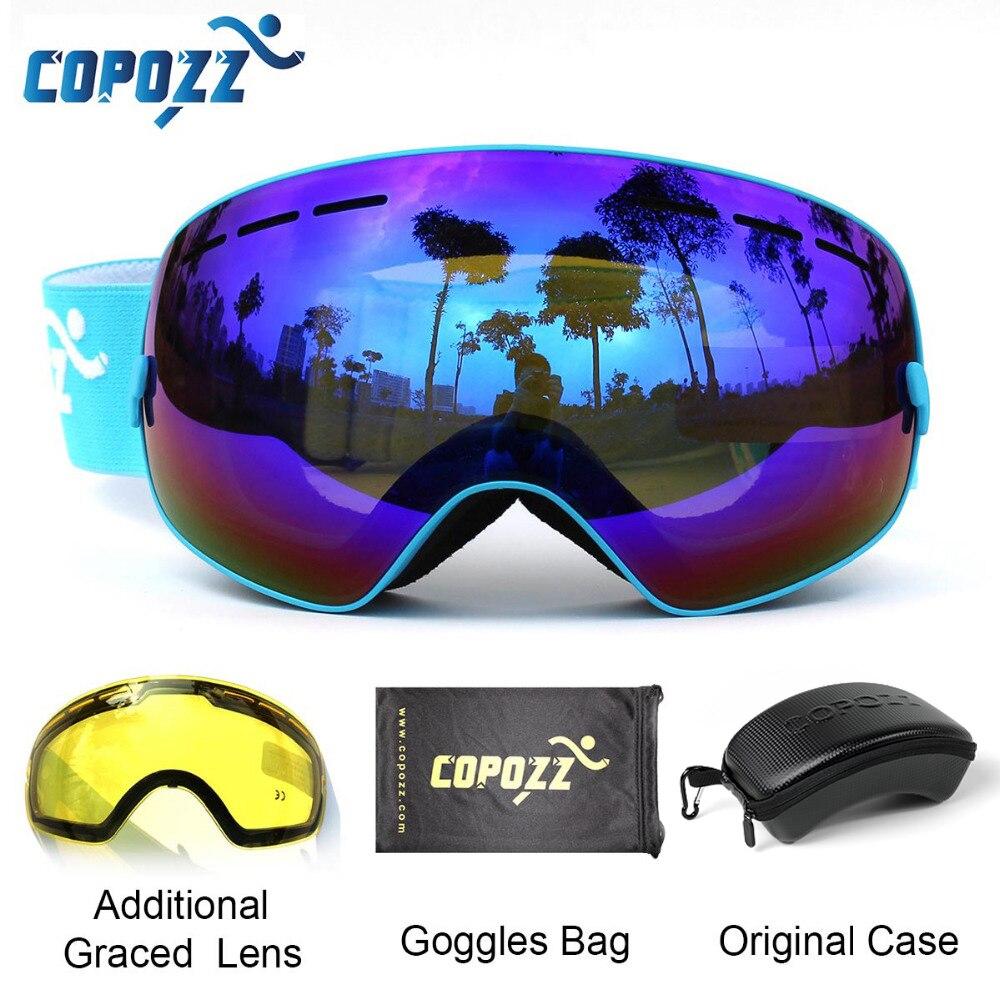 COPOZZ lunettes de Ski avec étui et lentille jaune UV400 Anti-buée sphérique lunettes de ski Ski hommes femmes lunettes de neige + lentille + coffret