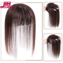 JINKAILI สีดำสีน้ำตาลสังเคราะห์ทนความร้อน Toupees Hairpieces ตรง Top ธรรมชาติผมคลิป Ins Air Bangs ปิดผู้ชายผู้หญิง