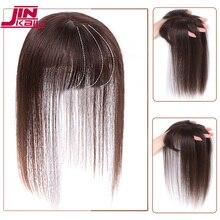 Peluquines sintéticos resistentes al calor JINKAILI negro marrón, parte superior recta, pinza de pelo Natural, cierre de flequillo de aire para hombres y mujeres