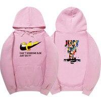 2017 Fashion Long Sleeve Hoodie Sweatshirt Polerones Hombre Pink Black White Hip Hop Just Do It