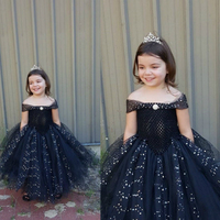 Gorgeous Black Flower Girl Dress for Wedding Party Princess Glitter Tulle Ball Gown Tutu V Shaped Dress Birthday Pageant Dress