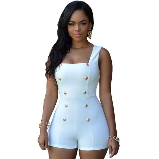 Dynamic Jaycosin Clothes Women Short Jumpsuit Double Button Zipper Back Elegant Bodycon Overalls Sexy Pants Rompers Finely Processed Rompers