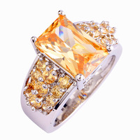 Wholesale Women Bridal Wedding Engagement Morganite 925 Silver Ring Fashion New Popular Jewelry Size 7 8 9 10 Rings For Women's