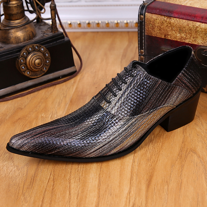 Plus Size Fashion Italian Designer Pointed Toe Man Oxfords Genuine Leather High Heels Men's Formal Dress Party Shoes SL255 plus size 2016 new formal brand genuine leather high heels pointed toe oxfords punk rock men s wolf print flats shoes fpt314