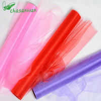 Top Quality 50M 75CM Colorful Tissue Tulle Roll Spool Craft Wedding Party Decoration Organza Sheer Gauze