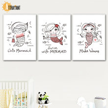 Cartoon Mermaid Quotes Wall Art Canvas Painting Nordic Posters And Prints Pop Figure