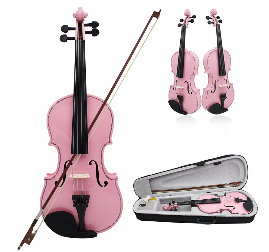 High quality ACOUSTIC Pink Violin + CASE + BOW + ROSIN WHOLE VIOLIN SET-Violin Size 1/8,1/4,1/2,3/4,4/4 brand new handmade colorful electric acoustic violin violino 4 4 violin bow case perfect sound