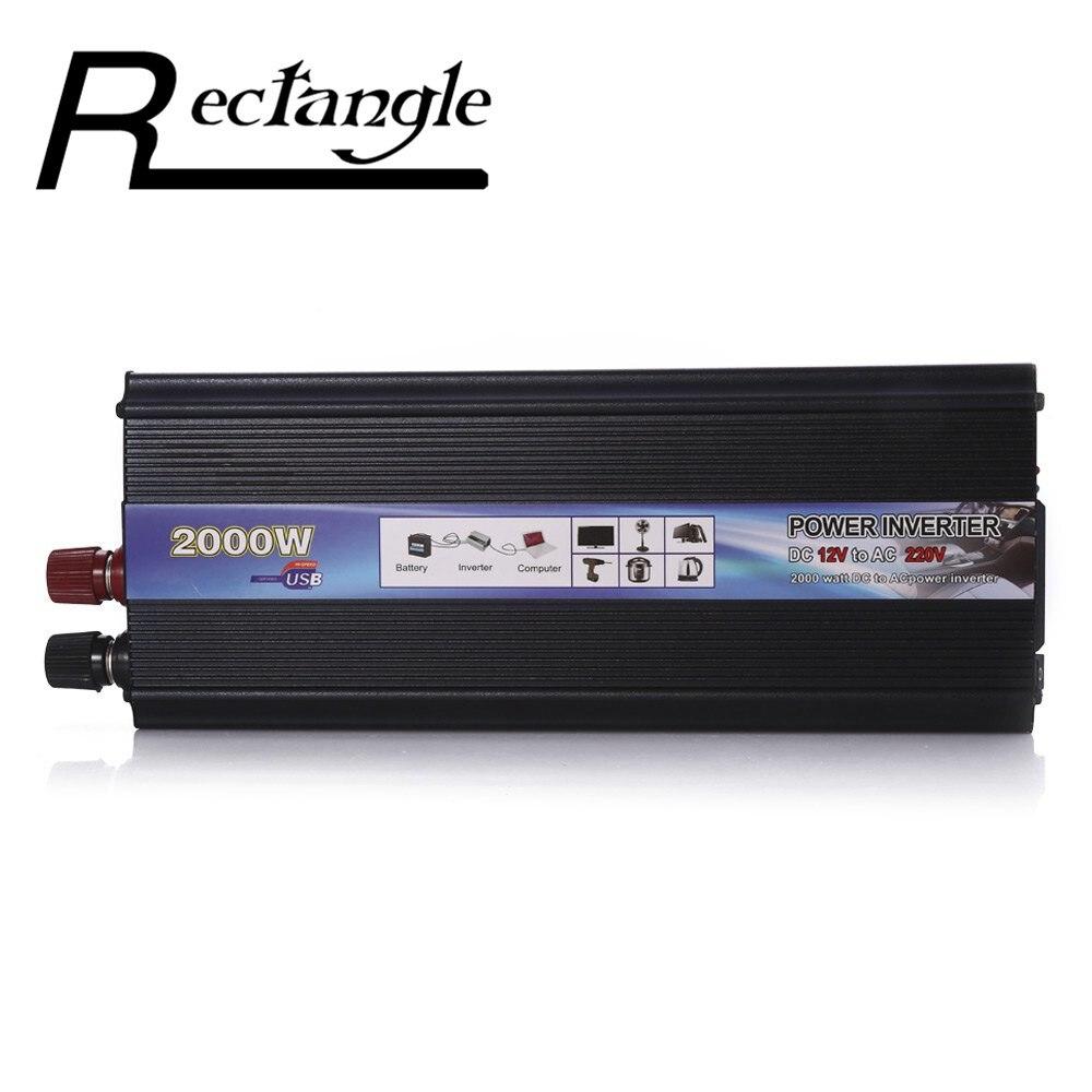 Rectángulo inversor del coche 2000 W DC 12 V a AC 220 V Power Inverter cargador Converter resistente y duradero vehículo interruptor de alimentación