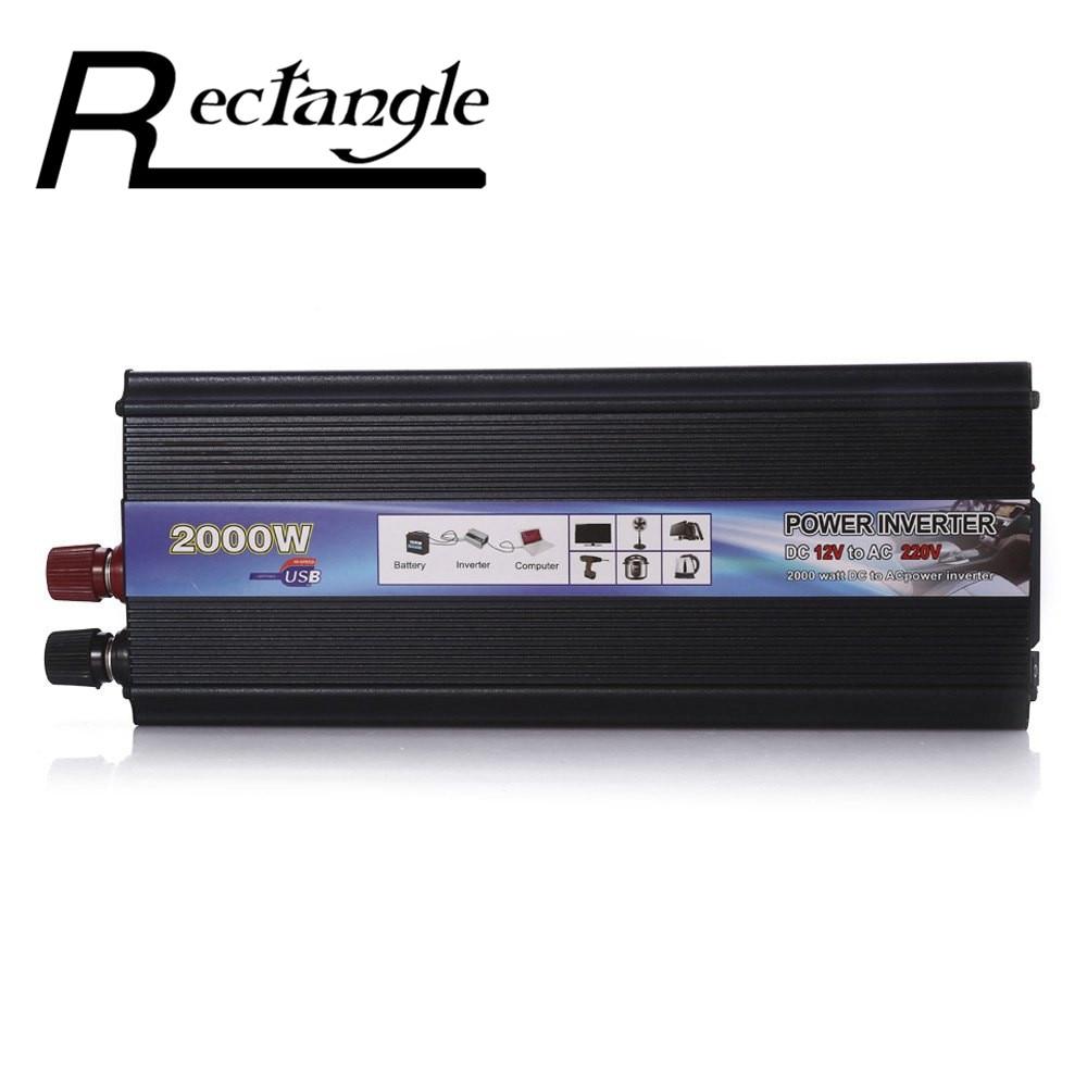 Rettangolo Auto Inverter 2000 W DC 12 V a AC 220 V Power Inverter Convertitore del Caricatore Robusto e Durevole Del Veicolo Interruttore di Alimentazione