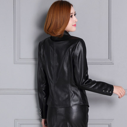 2018 New Short Autumn Slim Suit Leather Jacket KC5 in Jackets from Women 39 s Clothing
