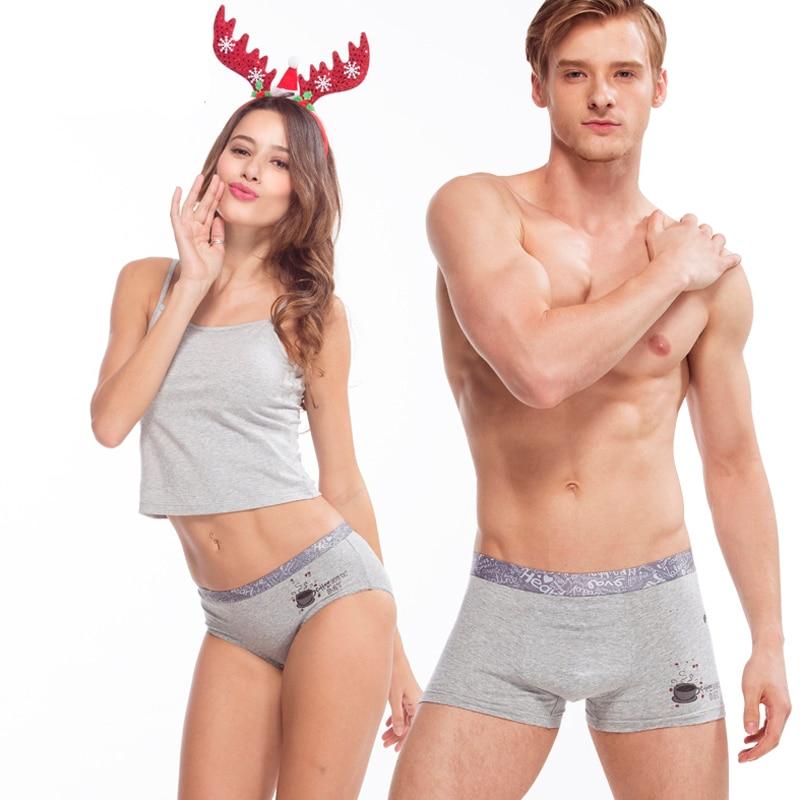 a504359555 2017 New Cotton Couple Underwear 2Pieces Set Solid Cartoon Cute Men Women  Panties Sexy Underpants Male Underwear Lovers Panties