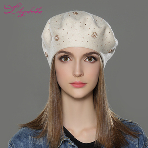 Image 3 - LILIYABAIHE new styleWomen Winter Hat wool angora Knitted Berets Cap solid colors fashion the most popular decoration Roses caps