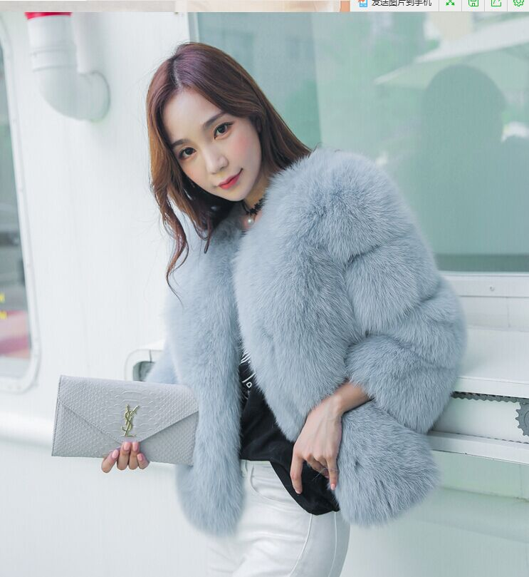 Новое поступление, модное женское меховое пальто, высокое качество, искусственный Лисий мех, пэтчворк, короткое пальто, женская зимняя теплая куртка, парка - Цвет: sky blue