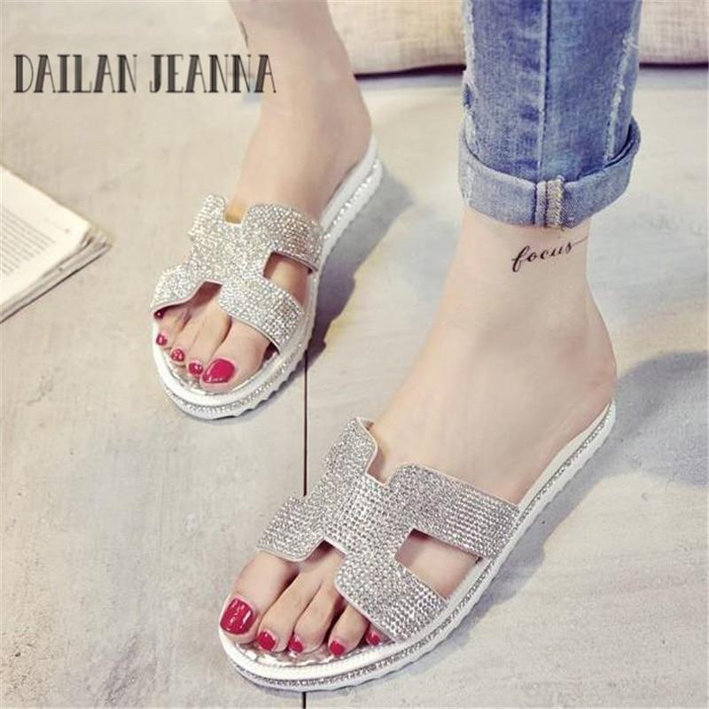 Summer 2017 puh rhinestone slippers silver flat sandals flat heel female