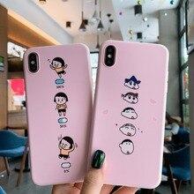 For iPhone XS XR XS MAX X 6 6S 7 8 Plus Case Cartoon Crayon Shin-chan Maruko Soft TPU Phone Case+Full Screen Protective Film цена и фото