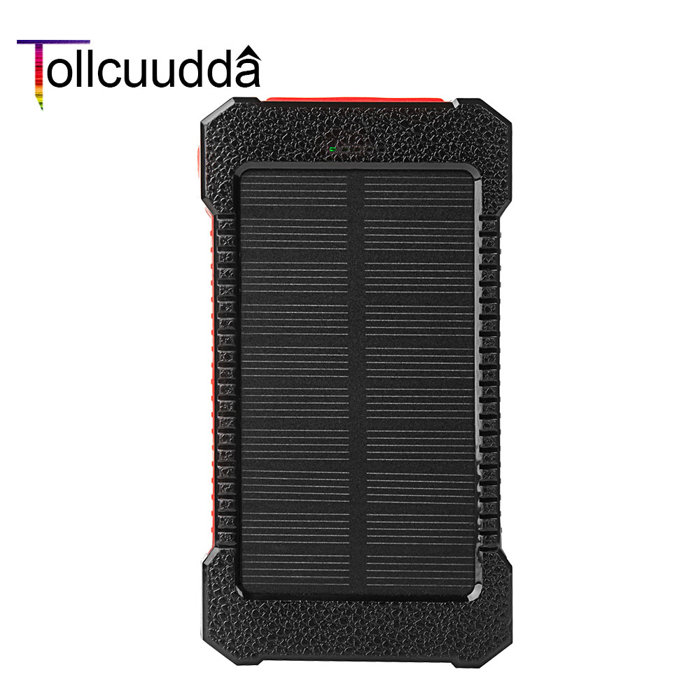 Tollcuudda Waterproof Solar Power Bank External Battery Ultra Thin Portable Charger Powerbank Solar Charger For Xiaomi