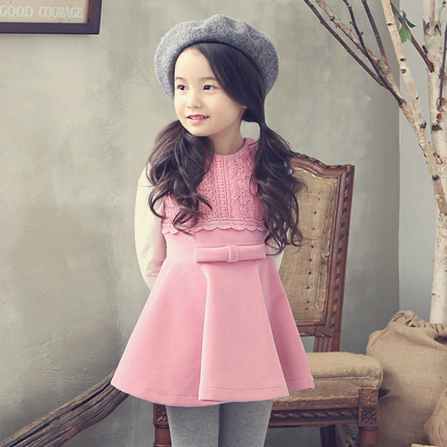 2016 autumn spring girls dresses o-neck sleeveless lace floral pattern dress toddler casual clothes children clothing 3-8T