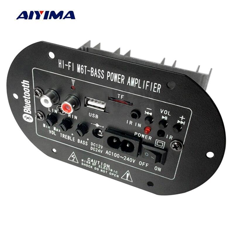 Aiyima Subwoofer Amplifier Board TDA2009A Car Subwoofer Amplifiers M6T Decoder 12V 24V 220V For 6-8inch Speaker ysdx 596 silicone subwoofer amplifier speaker for ipod grey