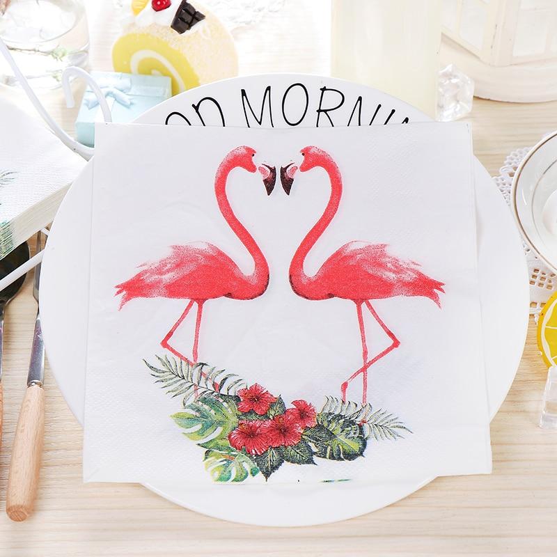 New White Beauty Flowers Flamingo Paper Napkins Cafe & Party Tissue Napkins Decoupage Decoration Paper 33cm*33cm 20pcs/pack/lot new white flower lily paper napkins cafe & party tissue napkins decoupage decoration paper 33cm 33cm 20pcs pack lot