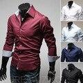 Camisa dos homens novos tamanho Grande Gola Camisa Casual Slim Fit Camisa Social Formal Casamento Moda Camisas Blusas