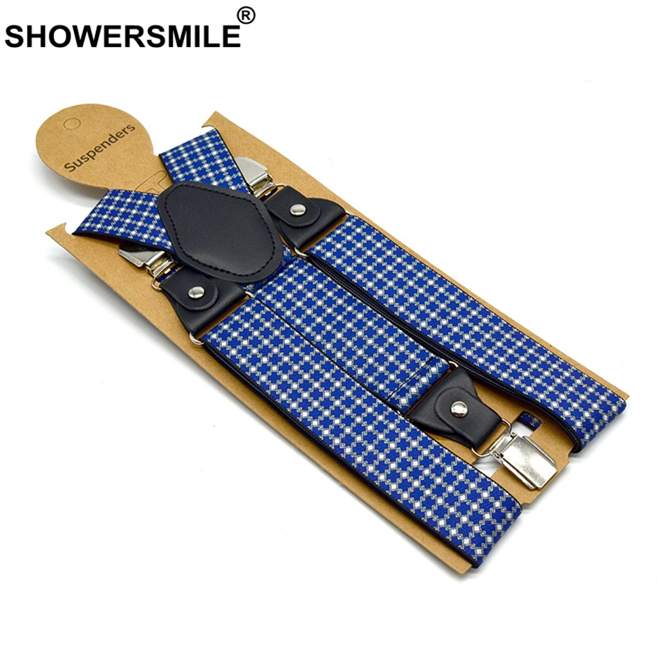 SHOWERSMILE Mens Trousers Belt With Leather Blue Plaid Business Suspenders Wide Adjustable Elasitic Braces 3 Clips Y Back Straps