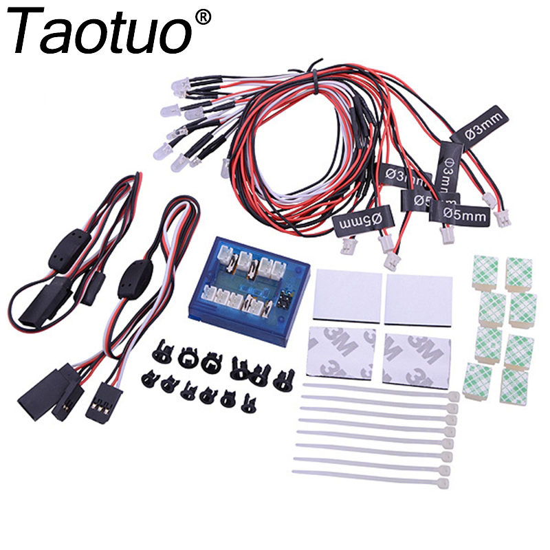 Taotuo No Soldering 12 LED RC Car Light Kit RC LED Lamp Model Car Truck Headlight Taillight Set Lighting System 4 Colors high power headlight system super bright led light lamp for rc car rc crawler aircraft boat