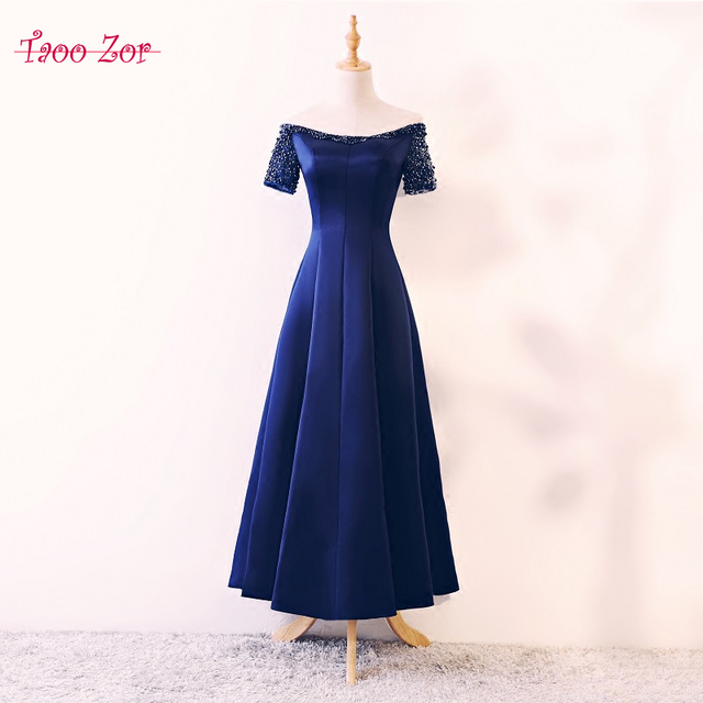 962c0dd71f1 TaooZor Elegant Tea-Length Mother of the Bride Dresses 2018 Royal Blue  Wedding Guest Romantic Pearls Beading Evening Dress