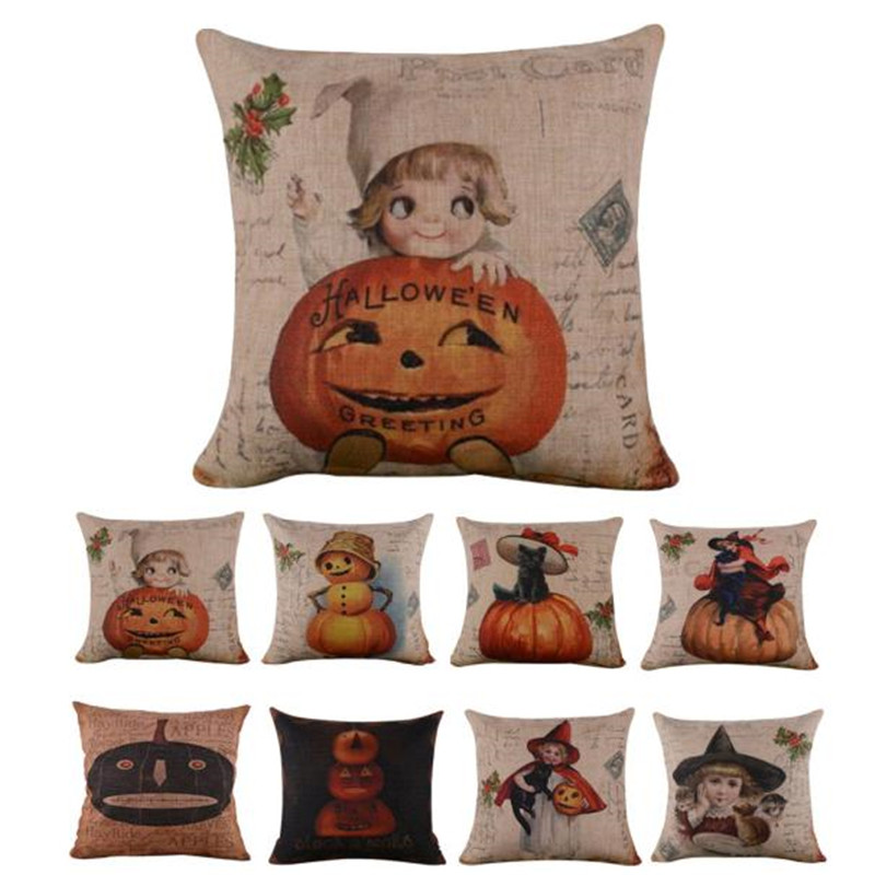 halloween geometry cushion covers cotton linen pillow cover for sofa bed nordic decorative pillow case almofadas