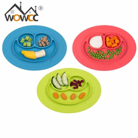 2017 Hot Sale Toddler Baby Kids Food Placemat One Piece Silicone Divided Dish Bowl Plates