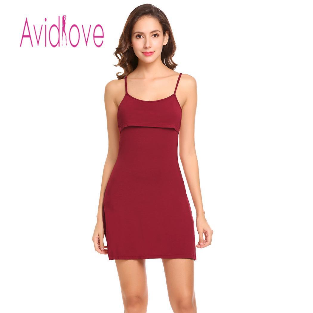 Avidlove Night Dress Women Sleepwear Babydoll Sexy Lingerie Soft Side Split Backless Chemise Slips Sleepwear nighty lenceria