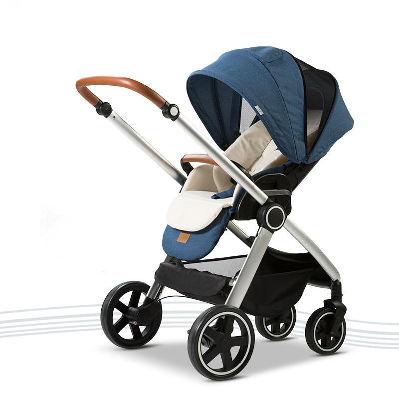цена на Lightweight baby stroller aluminum alloy fram four wheels shock absorber high landscape baby carriage trolley