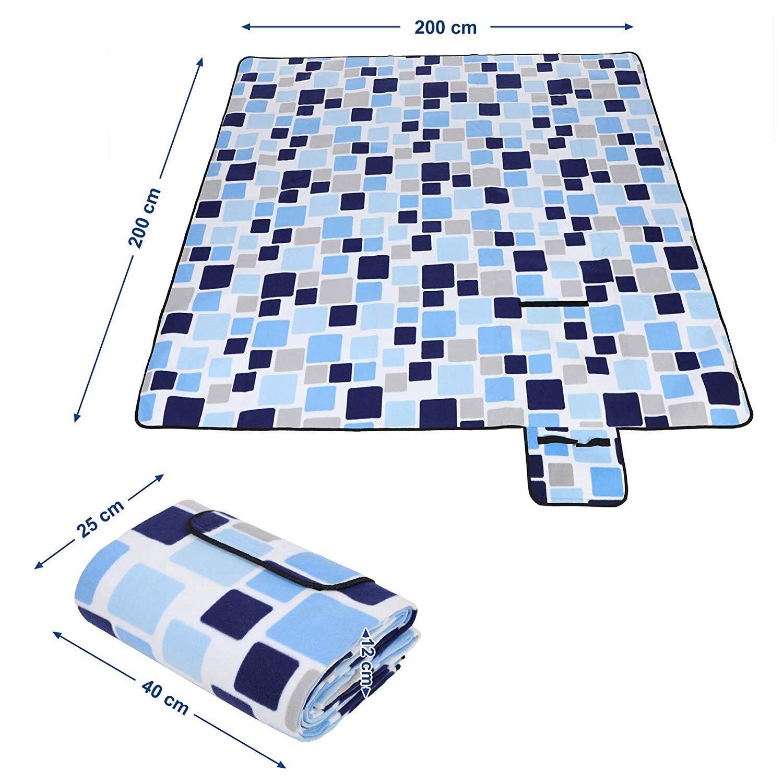 Piquenique cobertor, 200x200 cm, tamanho XXL, flanela,