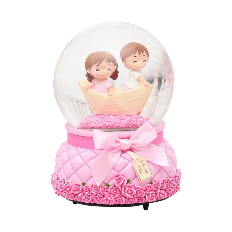 Creative Couple Crystal Ball Snow Rotating Music Box Ornaments Love Music Box Water Polo Crafts Home Decor Valentine's Day Gifts