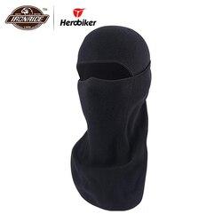 HEROBIKER Black Motorcycle Face Mask Autumn Winter Thermal Fleece Balaclava Motorcycle Mask Moto Windproof Cycling Skiing Mask