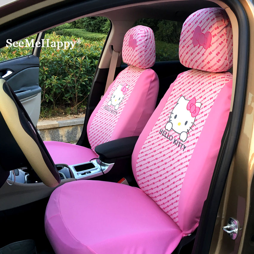 Universal Hello Kitty Car Seat Covers Pink Bowknotred Dots Cushion Faux Fur Styling Interior 6pcs Only Front Two Seats In Automobiles